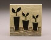 Three Potted Plants- 4x4 tile- Ruchika Madan