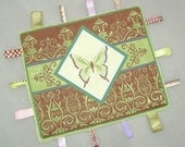 Minky Butterfly Tag Ribbon  Blanket - Boutique style lovey Brown and Green
