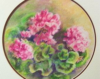 Original Colored Pencil Drawing - Pink Geranium - Double Circular Mat Included - Optional Frame - Wall Art - Home Decor - Flower Painting