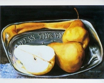 Giclee Print - Limited Edition Print - Still Life Painting - Silver Bread Plate -Painting of Pears - Watercolor Painting - Wall Art