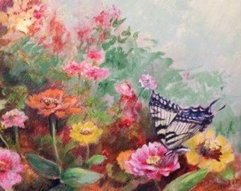 Limited Edition Print with Double Mat - Butterfly Painting - Flower Garden - Floral Painting - Gift Item