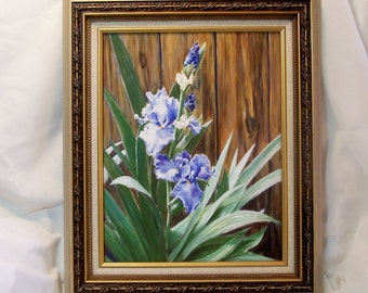 Egg Tempera Painting with Frame Blue Iris