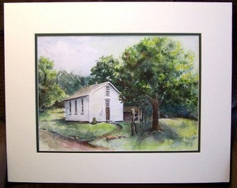 Original Watercolor Painting - 16x20 with Mat  - One Room School House
