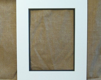 Double Mat - White with Black Liner - 8 x 10 Inch Frame Size - For 5 x 7 Inch Print - Matte - Matting - Picture Frame Mat