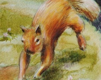 "Original ACEO -  Watercolor Painting - 2 1/2"" x 3 1/2"" - Wildlife Art - Squirrel - Animal Art - Artist Trading Card - Art Cards"