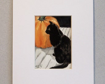 "Original ACEO - Watercolor Painting - Black Cat with Pumpkin - 2 1/2"" x 3 1/2"" - Artist Trading Cards - Art Cards - Halloween"