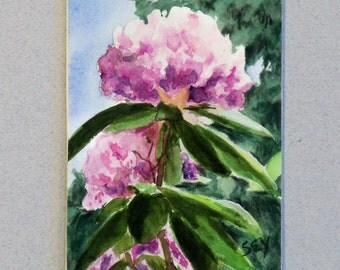 "ACEO Original  Paintings -  Lavender Rhododendron - Watercolor Painting - Artist Trading Cards - Art Cards - 2 1/2"" x 3 1/2"" - Fine Art"