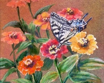 Original Watercolor Painting - Butterfly on Zinnias - Butterfly Garden - Monarch Butterfly - floral Painting - Flowers - Home Decor