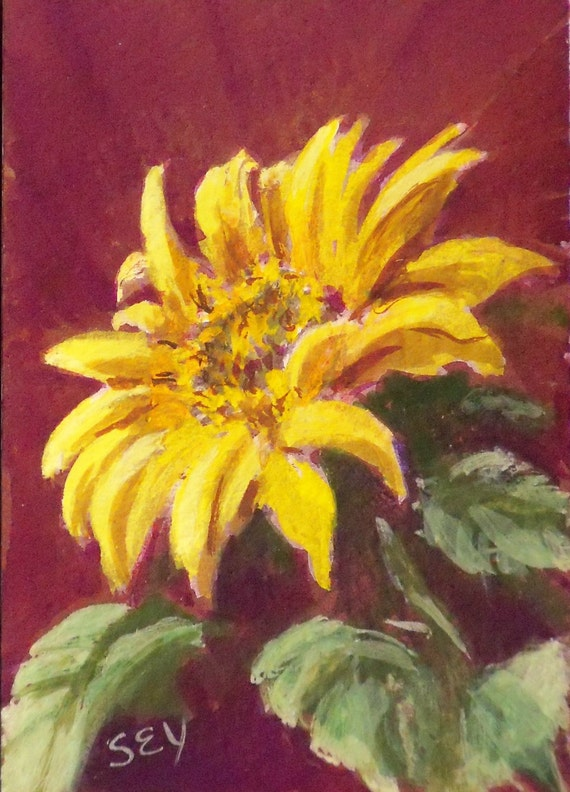 Original ACEO Opaque Watercolor Painting - Sunflower