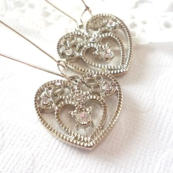 Silver heart, rhinestone, sparkly dangle earrings