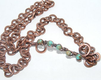 Earth Ladder - Turquoise Wrapped with Copper - Reiki Infused