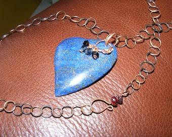 Heart of Blue - Lapis Heart Handmade Chain - Reiki Infused