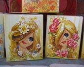 70s Girl with Big Eyes- Set of 4 Vintage Unused Gift Boxes