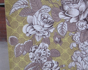 "1.75 Yds Golden Floral With Scrolls Vintage Fabric 47"" Wide"