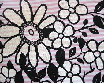 vintage fabric - mod floral - circle skirt fabric - 2 yds pink and black
