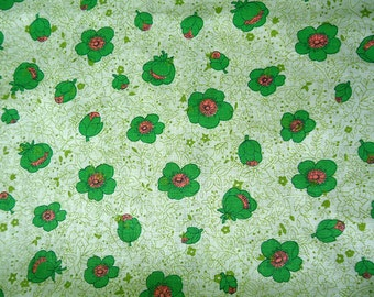vintage fabric - 50s 60s - green and pink flowers - 46 wide by 3.75 yards long