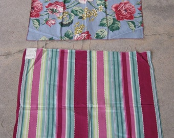 vintage fabric - 50s Floral and Stripes - Two Pieces of Vintage Fabric