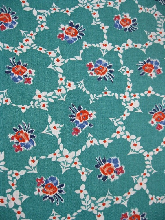 Super Cute Turquoise Flowers Vintage 40s Cotton Fabric 36W x 2 Yd