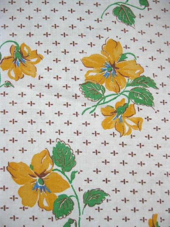 vintage fabric - 40s cotton feedsack fabric - yellow flowers - 38 x 46