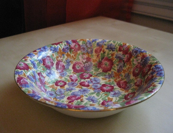 royal winton chintz - vintage bowl - royalty pattern - grimwades