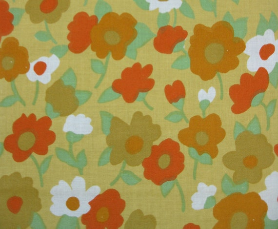 "Vintage Fabric - Cheerful Little Flowers in Great Colors All Cotton 36"" Wide x 2.5 Yds"