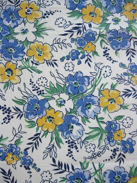 RESERVED FOR LORRAINE vintage fabric - 40s quilting cotton - Blue and Yellow Floral