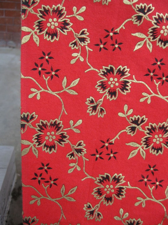 RESERVED for DIANA vintage fabric - christmas holiday - Red Gold and Black Vintage Floral Fabric