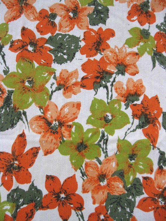 vintage fabric - autumn colors - fall floral - tablecloth