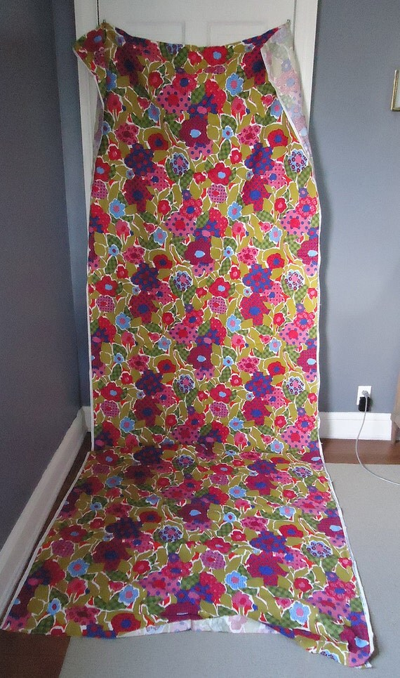 "vintage fabric - 60s 70s mod floral - groovy colors - 50"" wide x 3 yards long"