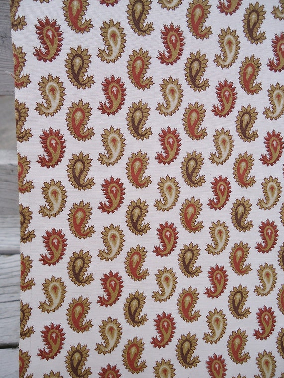 "6 yards vintage fabric - 50s 60s paisley fabric - 38"" wide"