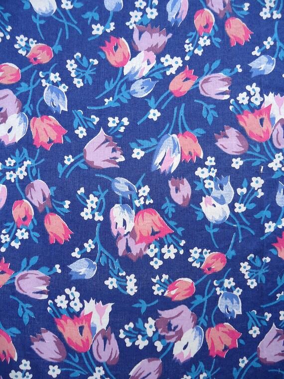 3yds vintage fabric - BEST sweet little flowers - 40s cotton fabric - 36w