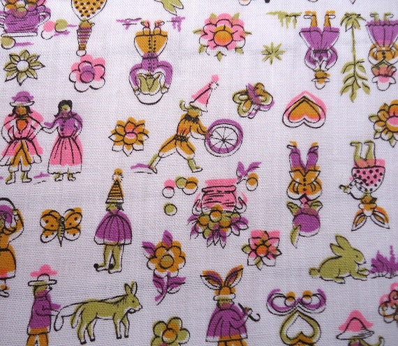 2.5 Yards vintage fabric - tiny funny people and little things - novelty 60s fabric