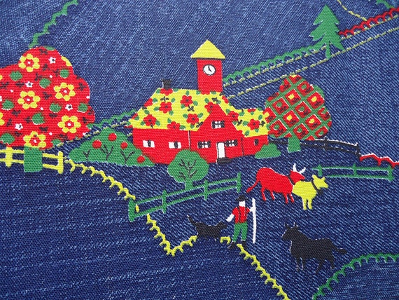 vintage 70s fabric - calico quirky farm - novelty fabric