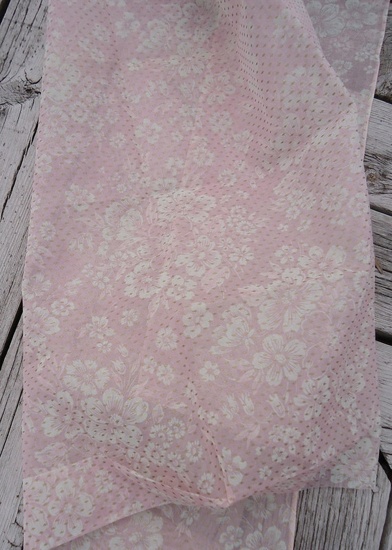 vintage organdy fabric - sheer pink floral - perfect for making doll clothes - 2 yards