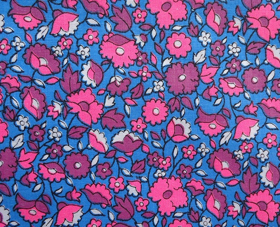 vintage 60s fabric - flower power retro - little bright flowers