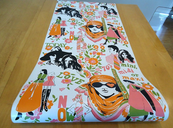 vintage MOD contact paper wallpaper - 70s flower power - 3 yards