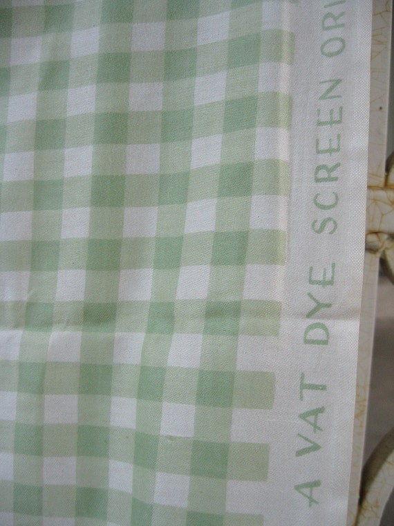 Green Gingham Vintage Fabric 2 Yds
