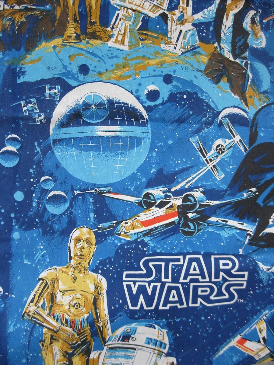 Vintage 70s star wars fabric for Star wars fabric