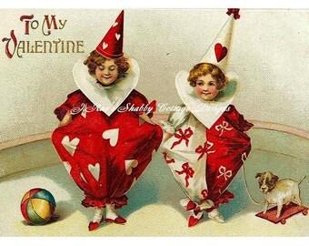 Sweet Harlequin Clowns Vintage Postcard Valentine REPRO Fabric Block 5x7