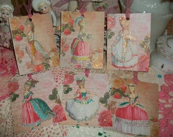 Stunning Altered Art Marie Antoinette Gift Tags Ornaments Scrapbooking Crafting