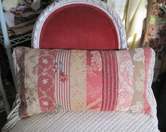 Pillow Designer Fabric Collage Velvet Linen Mocha Rose Cinnamon Bullion Fringe Fall Colors