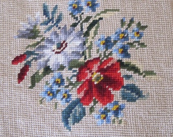 Vintage Needlepoint Flowers Floral Boquet French Pattern by Bucilla Red Blue Green on Neutral Background