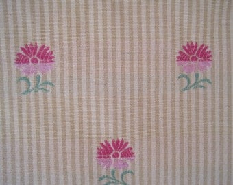 Fabric Home Decor Upholstery Decorator Embroidered Flower on Stripe Pink Rose Gold Yellow 2 Plus Yards