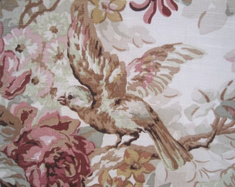 Fabric Home Decor Decorator Birds Flowers Green Mocha Pink Remnant