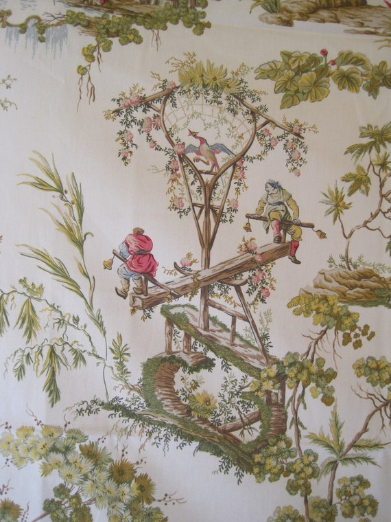 Fabric Home Decor Upholstery Drapery Chinoiserie Asian Toile Garden