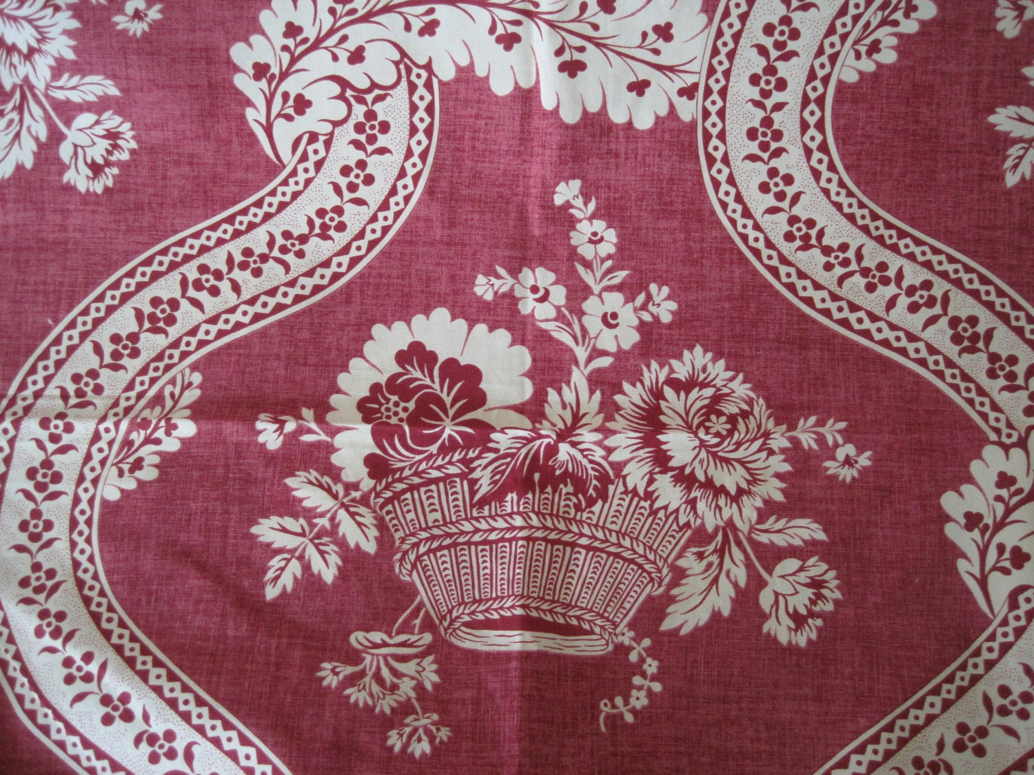 Fabric home decor pierre frey french toile raspberry remnant for Pierre frey fabric