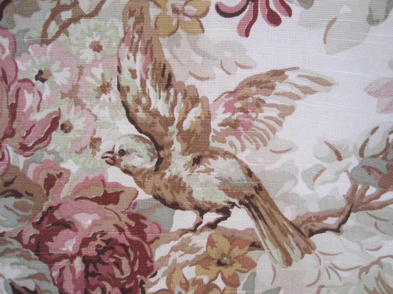 Fabric Home Decor Decorator Birds Flowers Green Mocha Pink