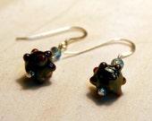 Orbit Earrings - Lampwork Beads with Swarovski Crystal