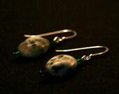 Sesame Jasper and Green Swarovski Crystal Earrings