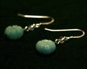 Flower Earrings - Carved Amazonite and Czech Glass